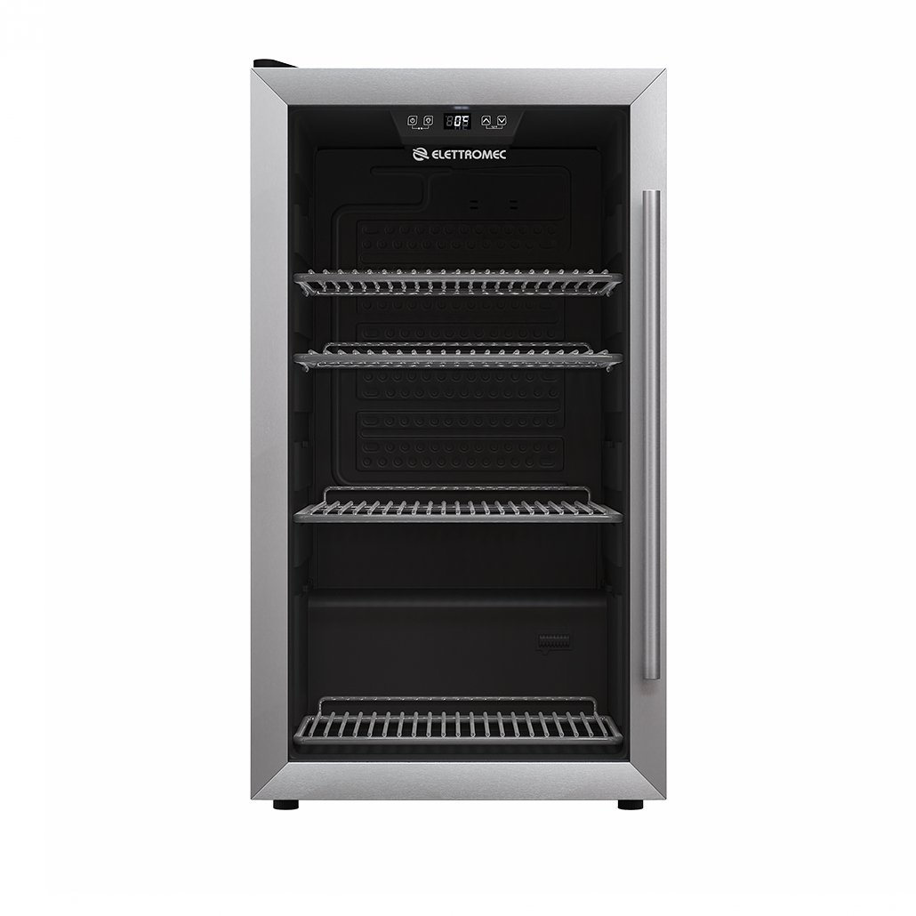 Frigobar Elettromec Freestanding 85L fundo preto Low-E abertura para esquerda 480 x 875 x 430MM 220V