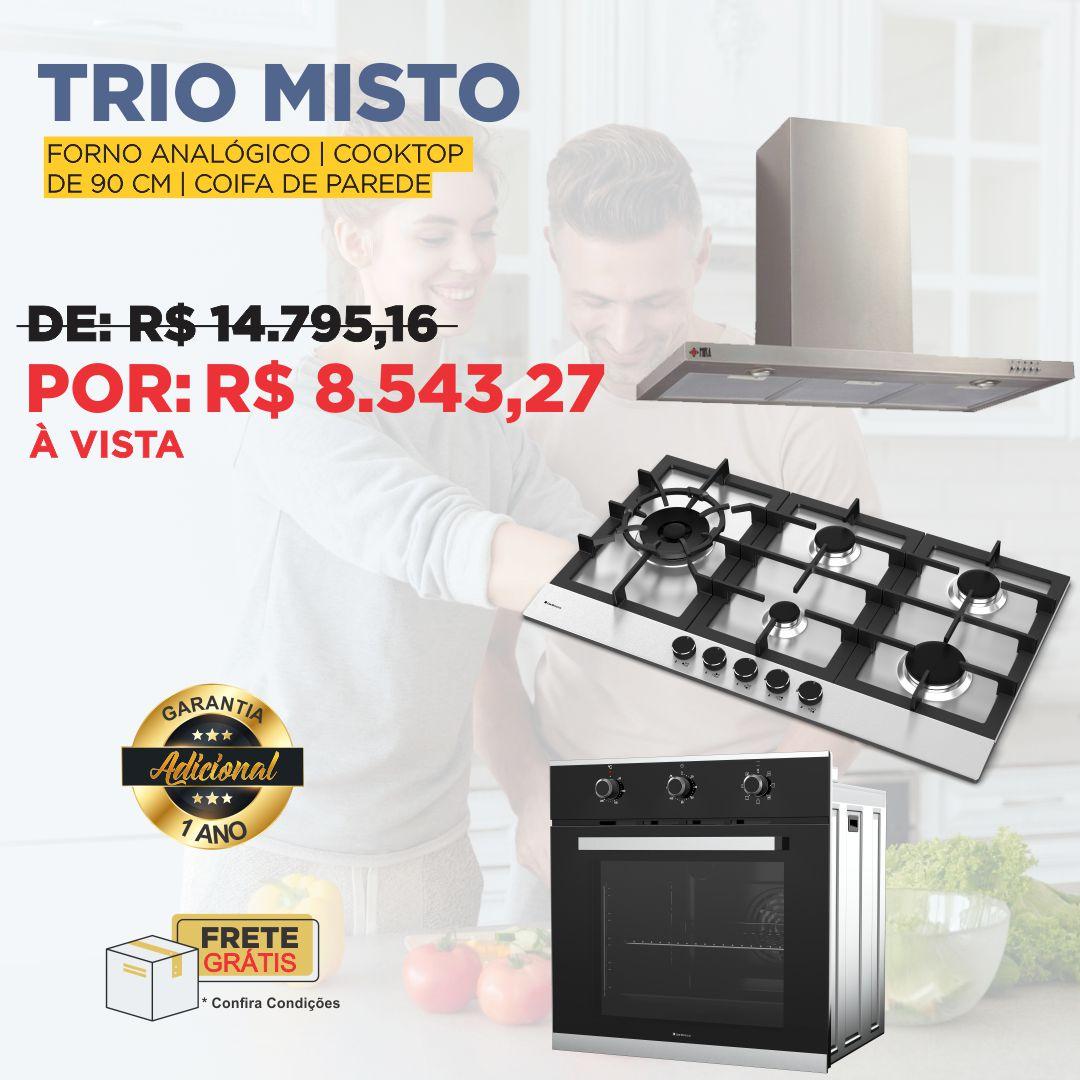 Trio misto De Bacco com cooktop zurique 90cm + forno elétrico Madri + coifa parede Mira