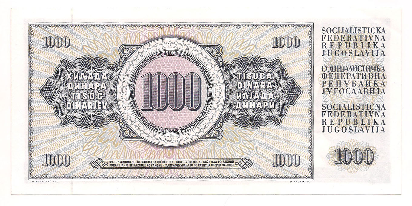 Iugoslávia - 1000 Dinara  1981 FE