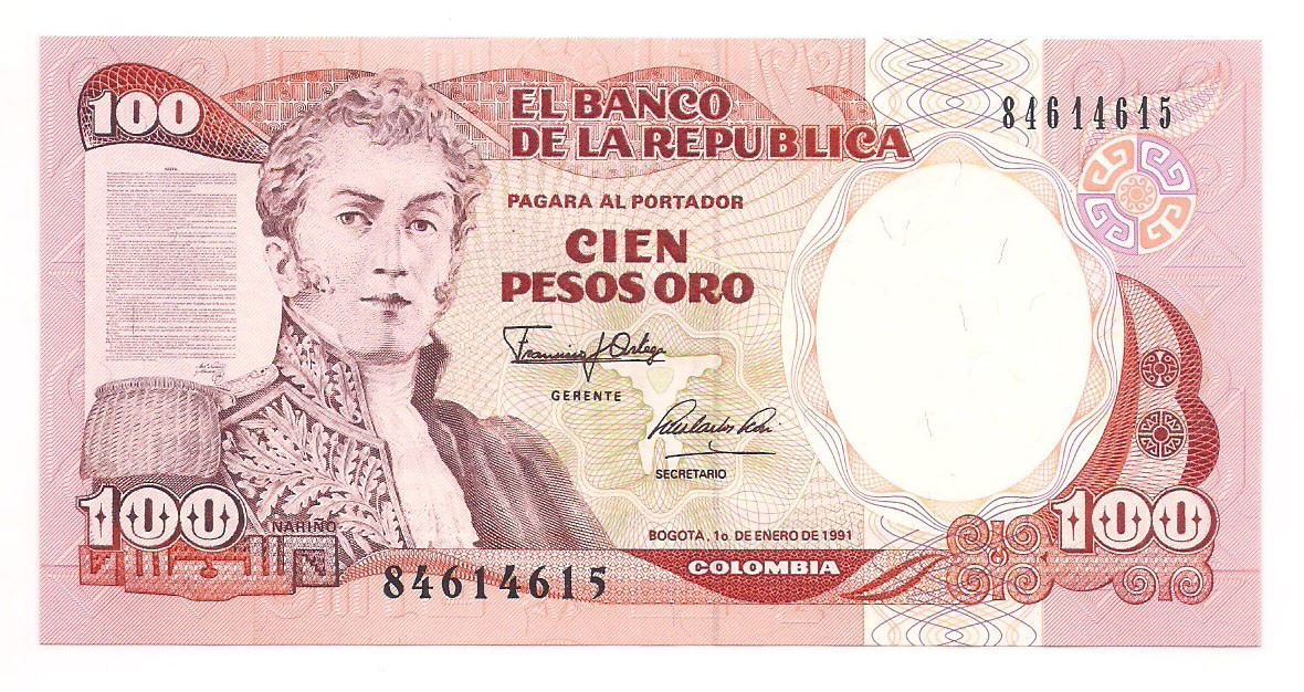 Colômbia - 100 Pesos Oro (Narino) FE 1991