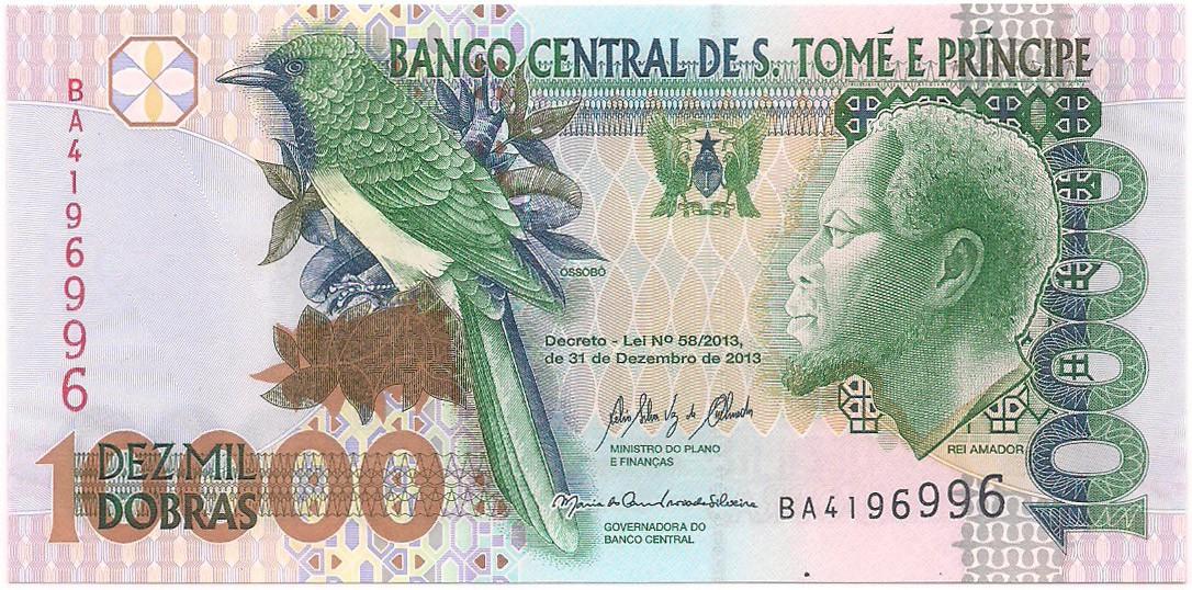 São Tomé e Príncipe - 10.000 Dobras (Óssobô & Rei Amador e Ponte Papagaio) FE 2013