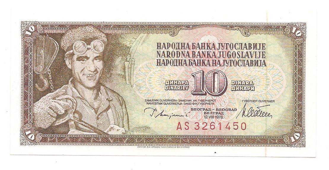 Iugoslávia - 10 Dinara 1978