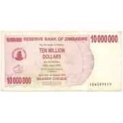 Zimbábue - 10.000.000 Dollars 2008