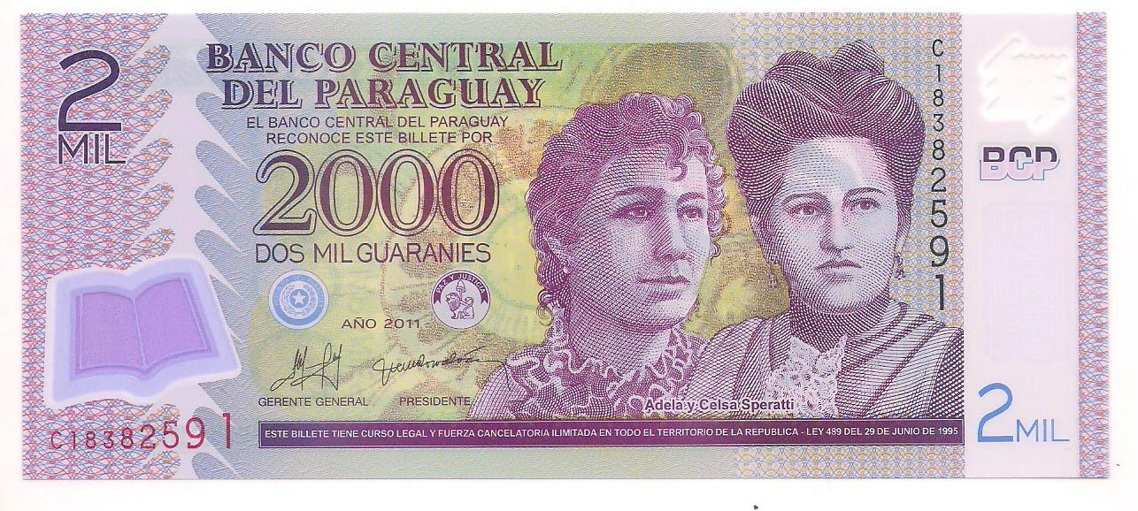 Paraguai - 2000 Guaranies FE  Polímero 2011