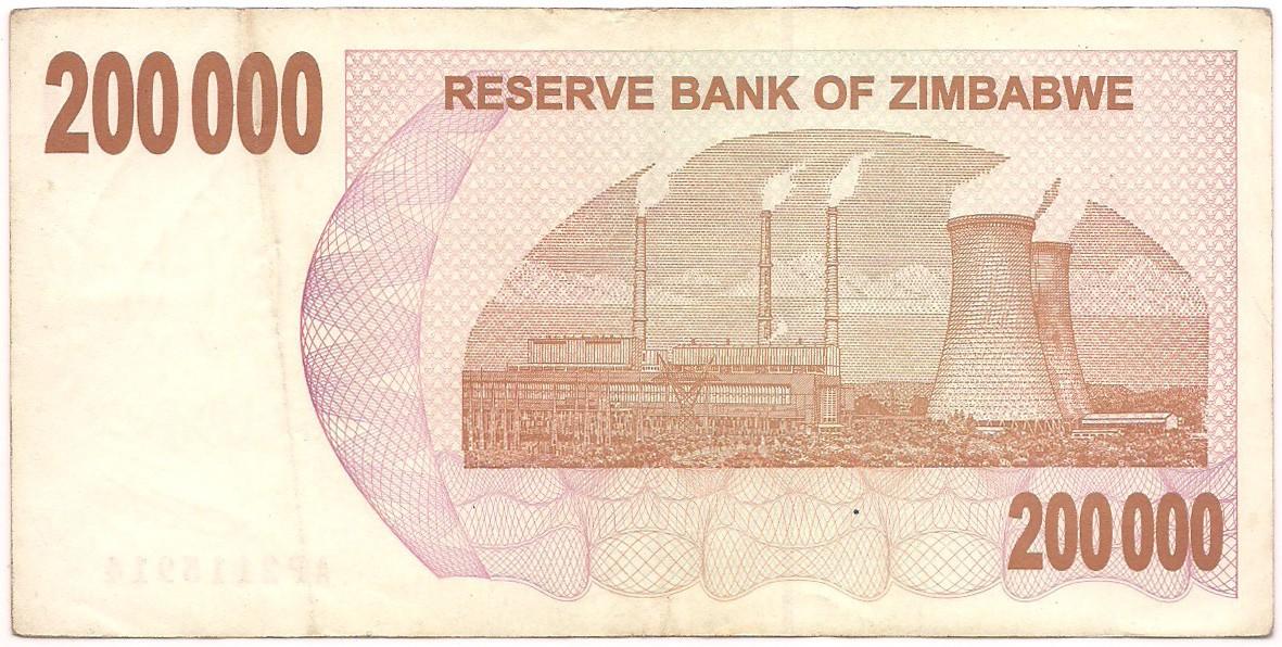 Zimbábue - 200.000 Dollars 2008