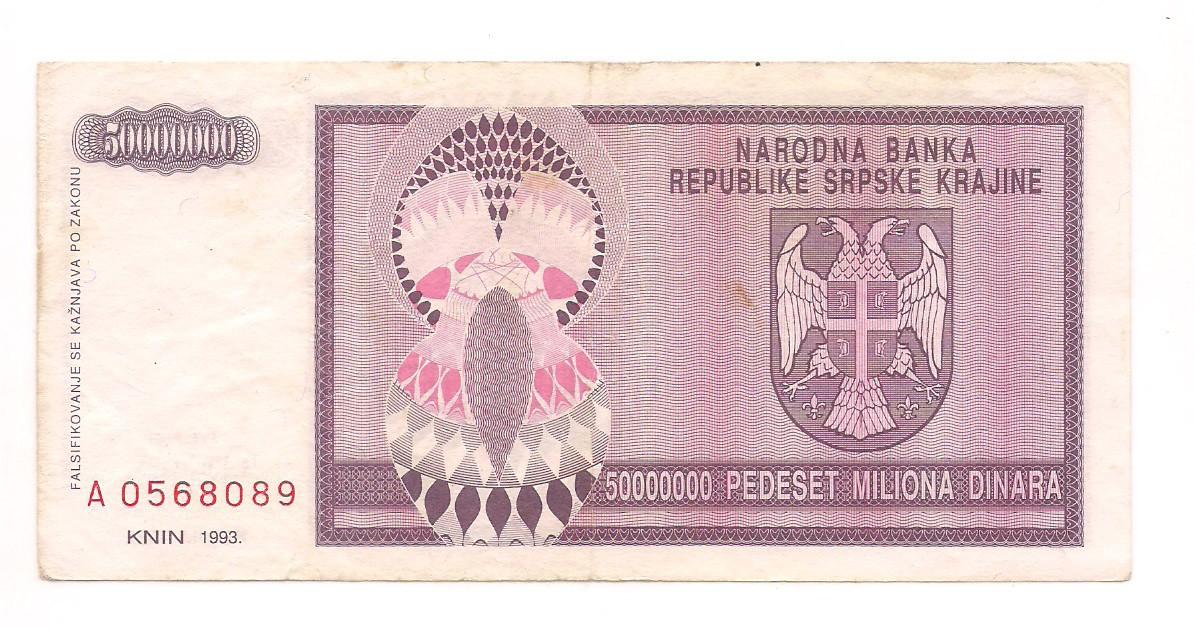 Bósnia (Herzegóvina) - 50.000.000 (50 milhões) Dinara FE 1993
