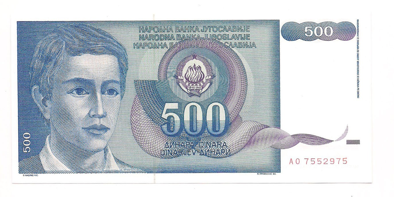 Iugoslávia - 500 Dinara 1990