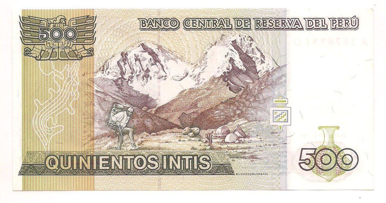 Peru - 500 Intis  FE 1987