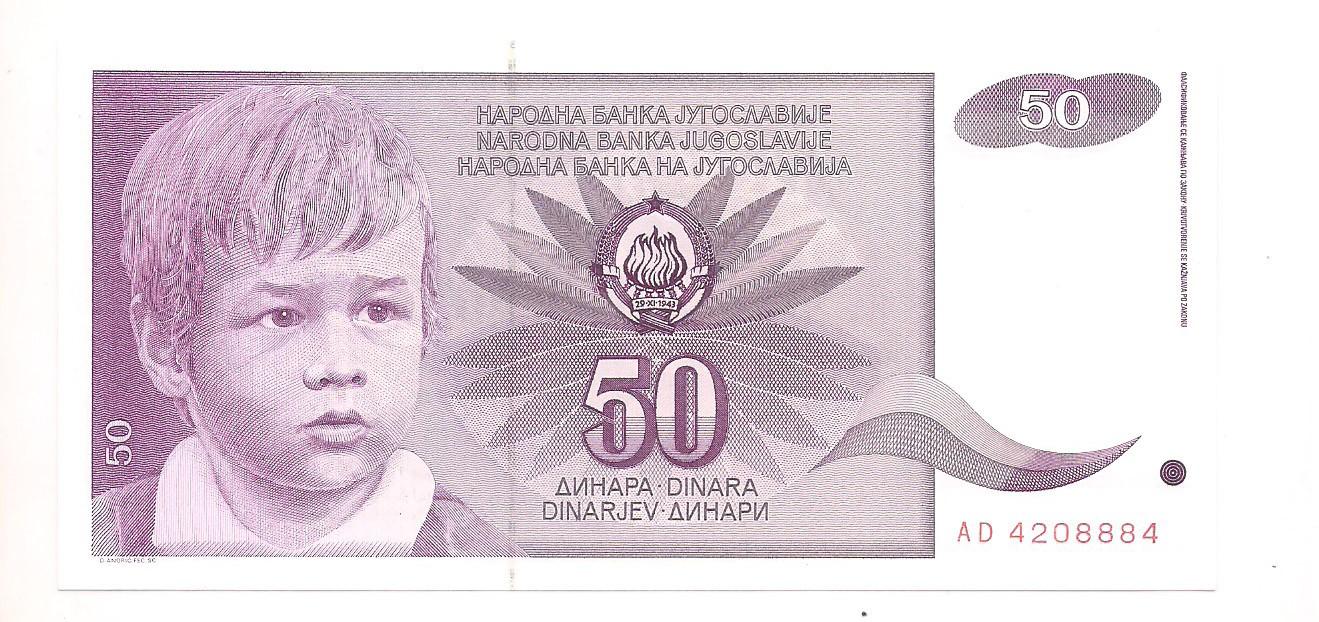 Iugoslávia - 50 Dinara 1990