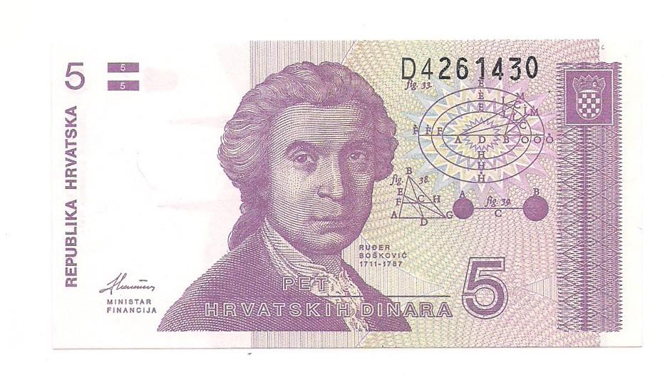 Croácia - 5 Dinara FE 1991
