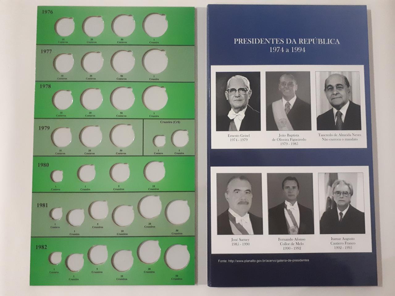 Álbum para moedas de Cruzeiro/Cruzado - 1976 até 1994