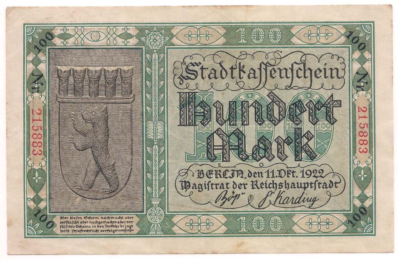 Alemanha - 100 Mark 1922