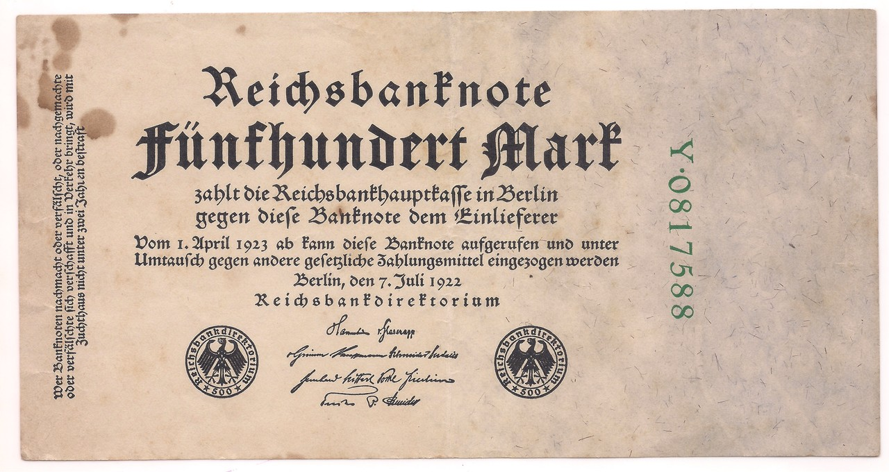 Alemanha - 500 Mark 1922