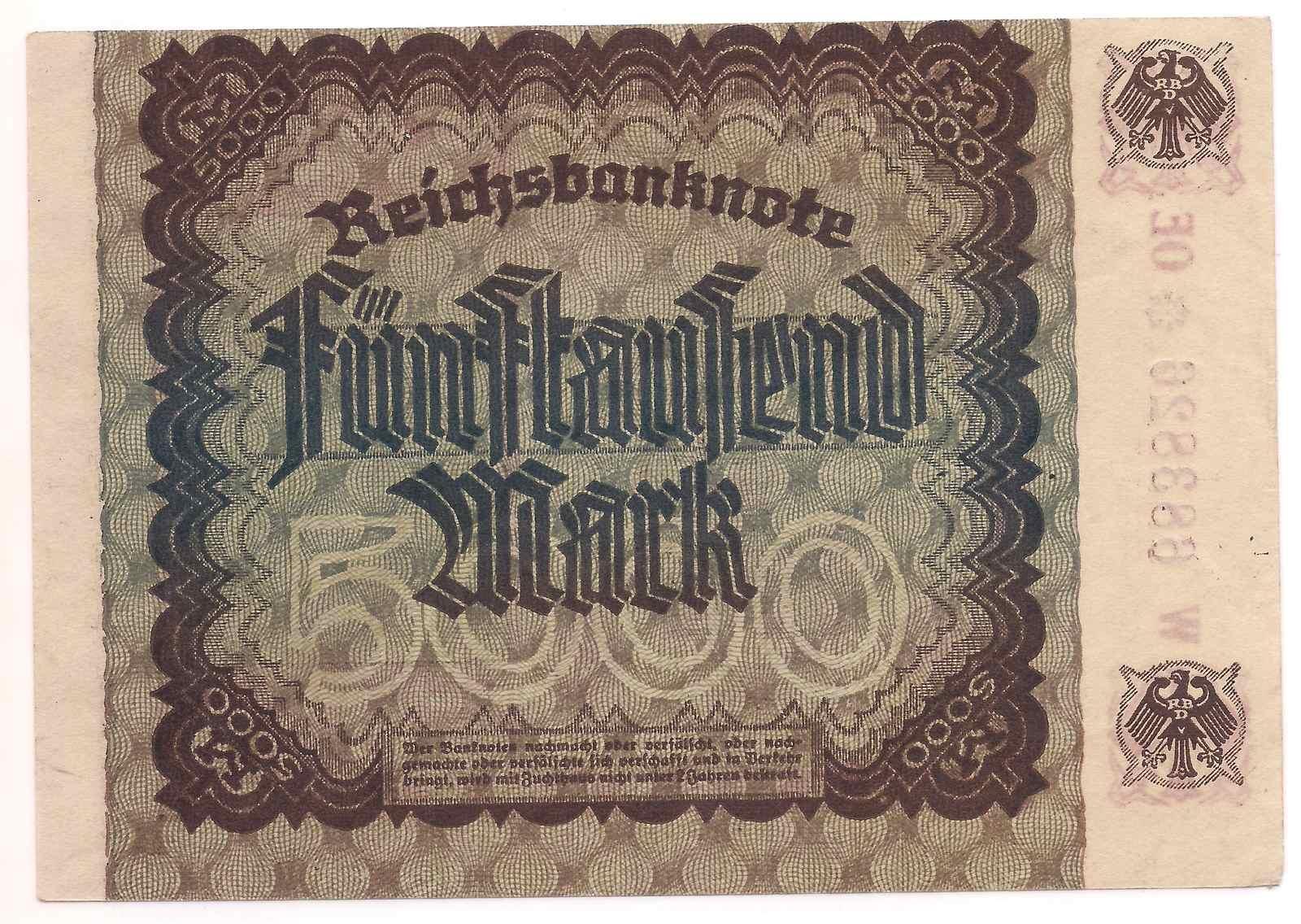 Alemanha 5.000 Mark 1922 - SOB/FE