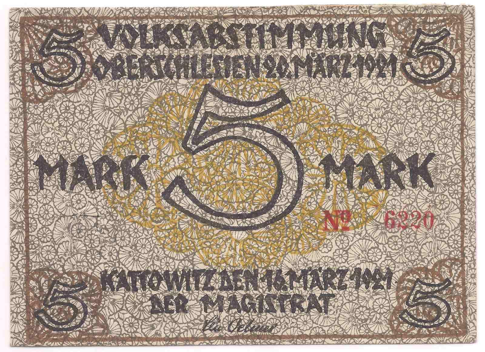 Alemanha - Notgeld 5 Mark 1921