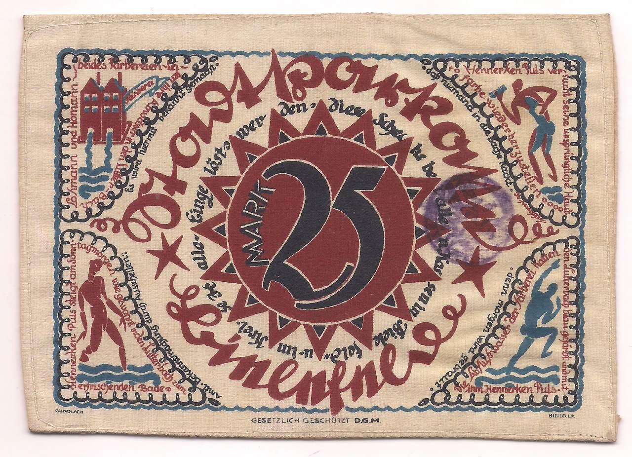 Alemanha - Notgeld Tecido de linho 25 Mark 1921