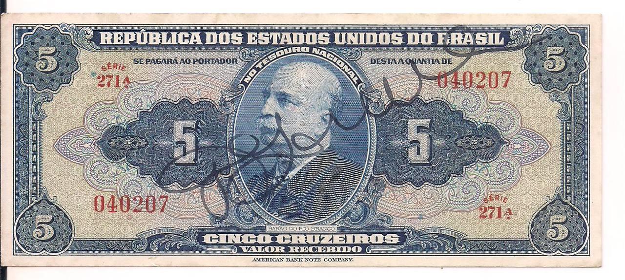C.017 1943 - Cédula de 5 Cruzeiros - AUTOGRAFADA.