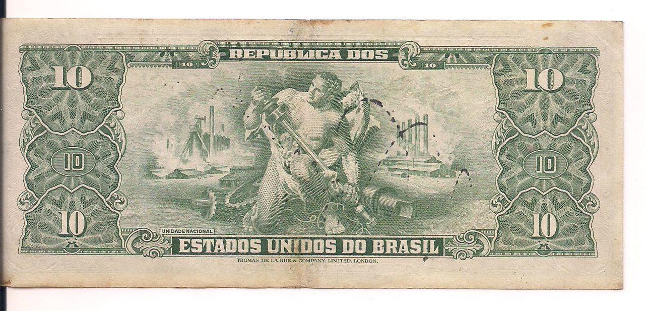 C.075 - 1950 Cédula de 10 Cruzeiros - AUTOGRAFADA 2 Estampa.