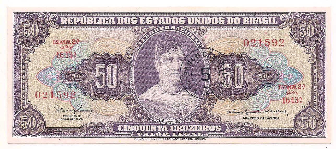C-116 50 Cruzeiros com carimbo de 5 centavos  2° estampa 1967