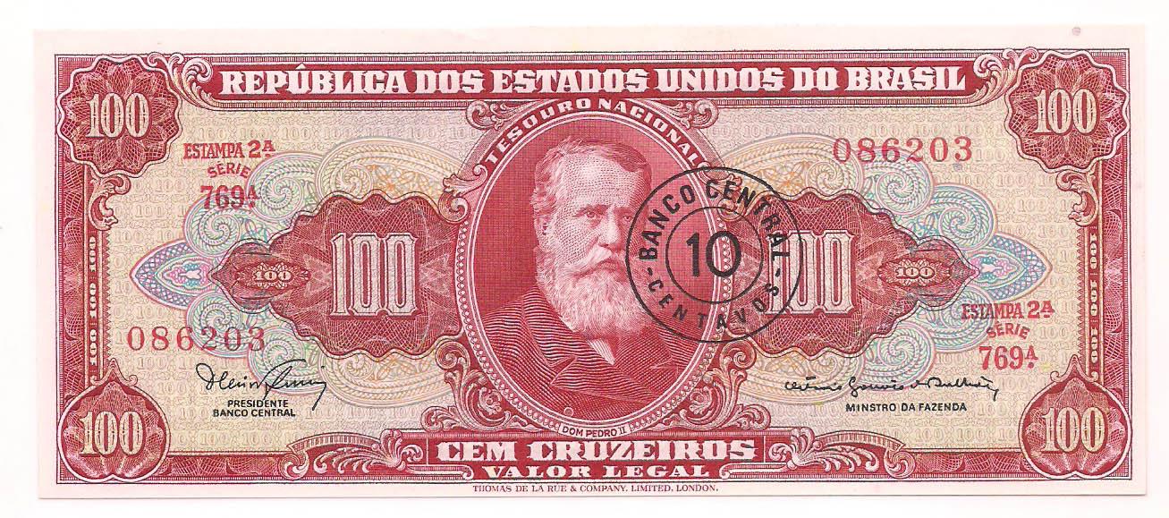 C-117 100 Cruzeiros com carimbo de 10 centavos  2° estampa 1966
