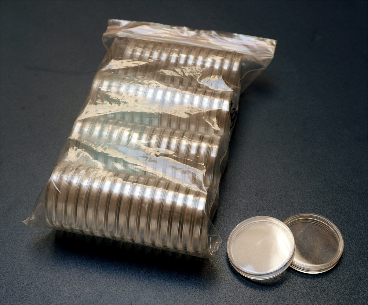 Cápsulas de acrílico p/ moedas - diversos tamanhos