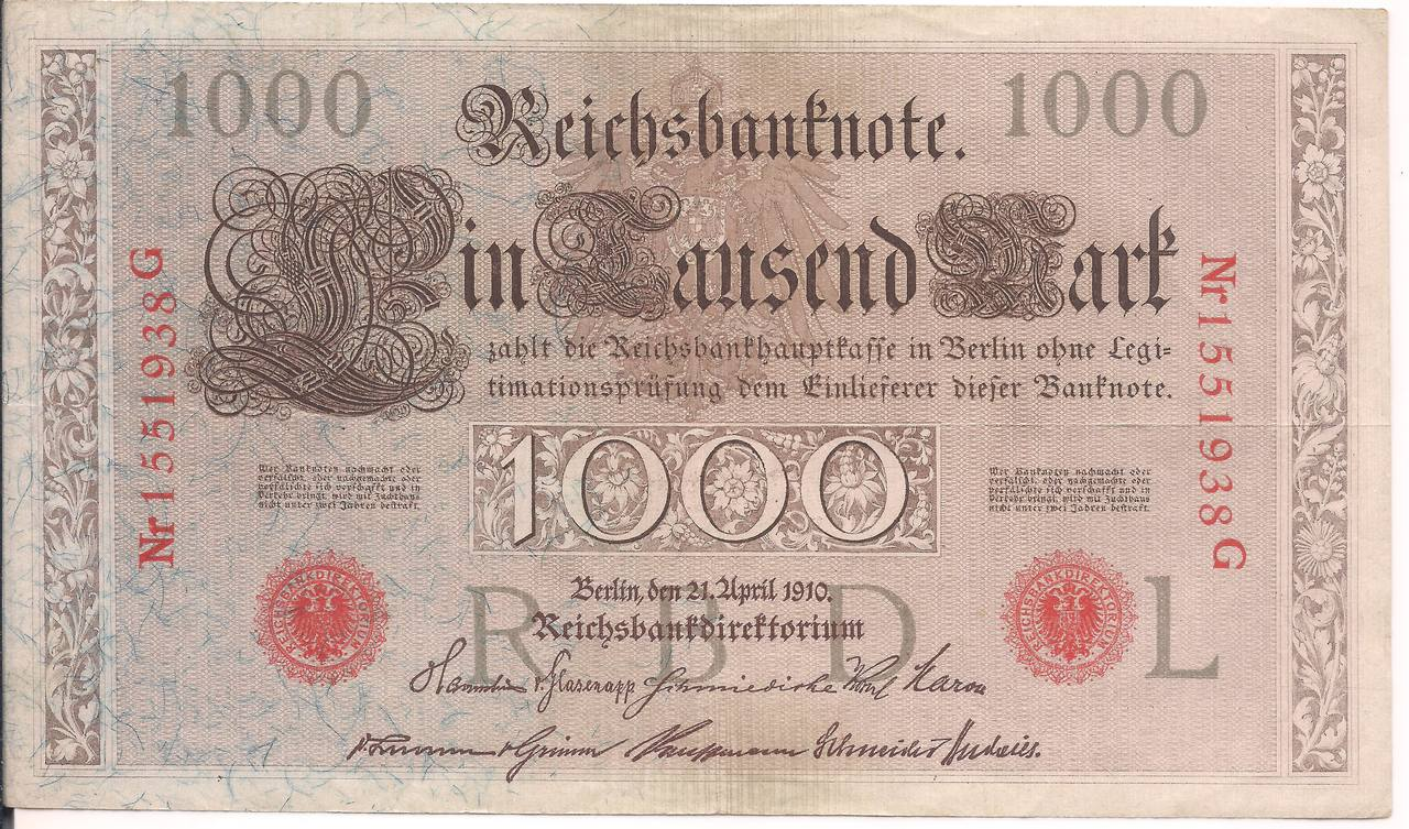 Cédula 1000 Mark 1910.