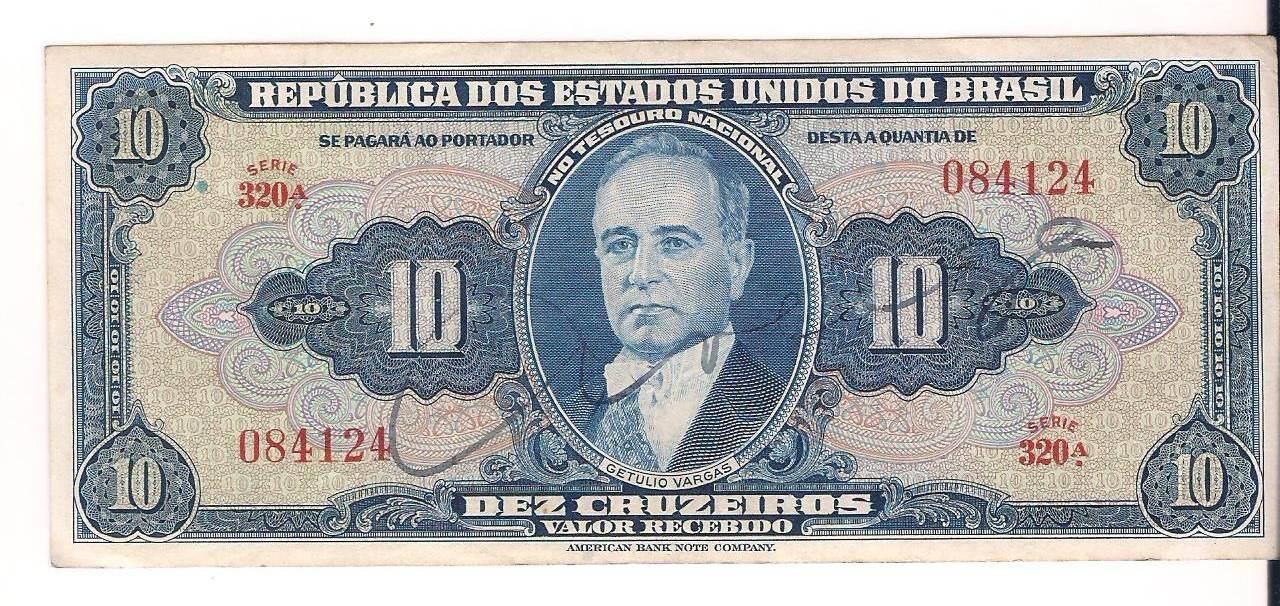 C.018 - 1943 Cédula de 10 Cruzeiros 1 Estampa  - Getulio  Vargas - Presidente da República, AUTOGRAFADA.