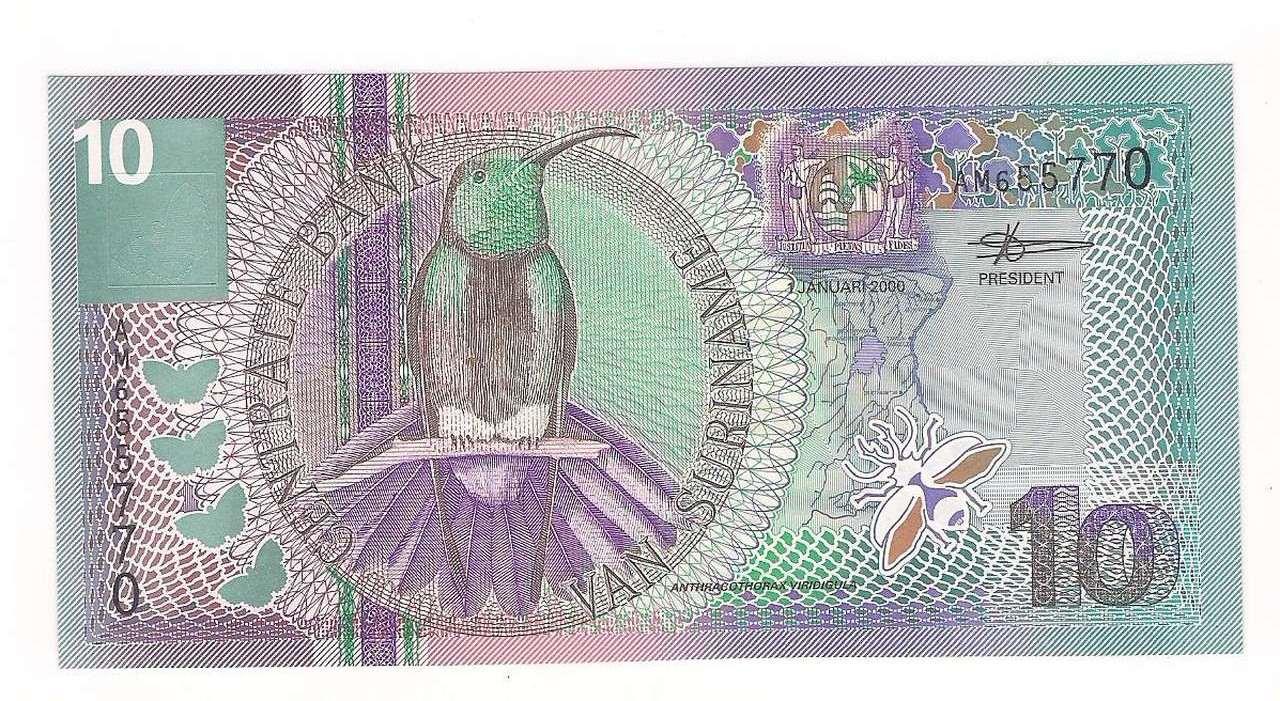 Cédula de 10 Gulden ano de 2000 - SURIMANE - FE