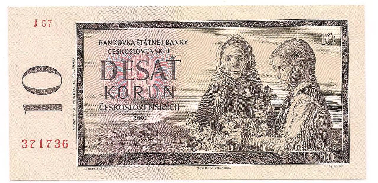 Cédula de 10 korun - Ceskoslovenskych - 1960