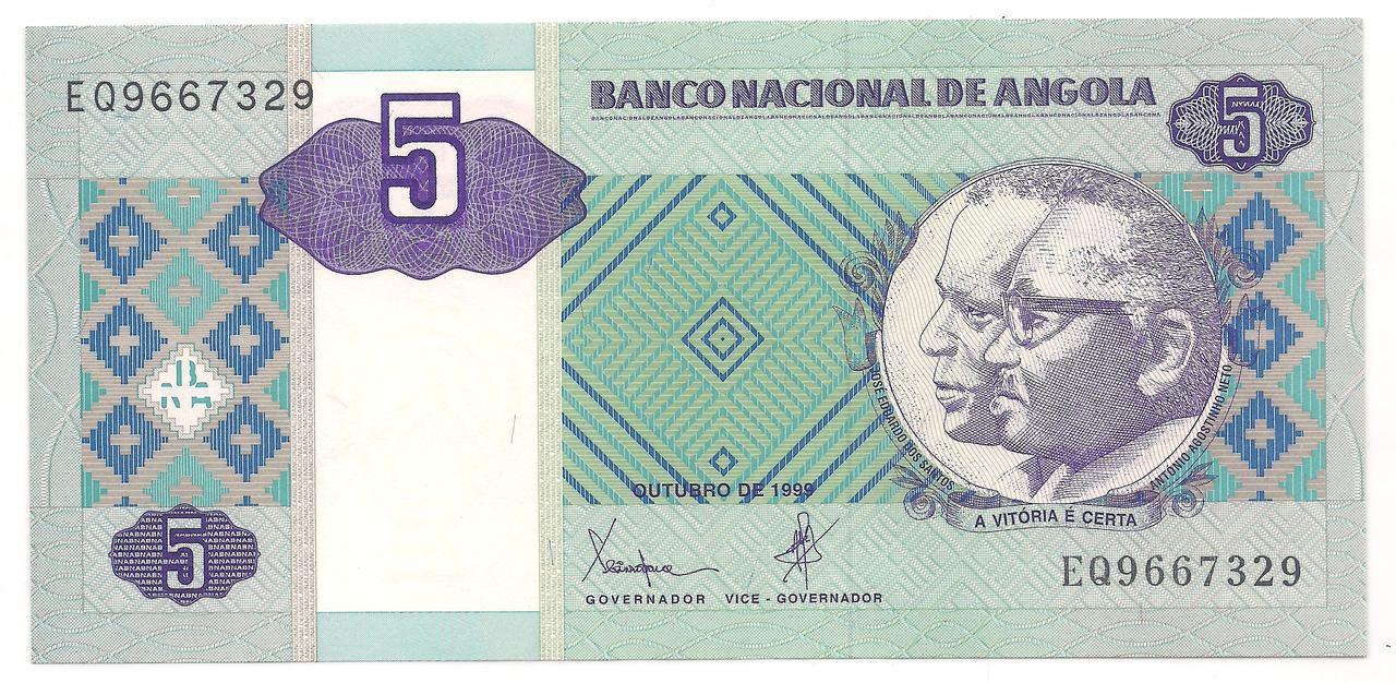 Cédulas da Angola 5 a 100  Kwanzas - 1999 (Escolha nas variações)