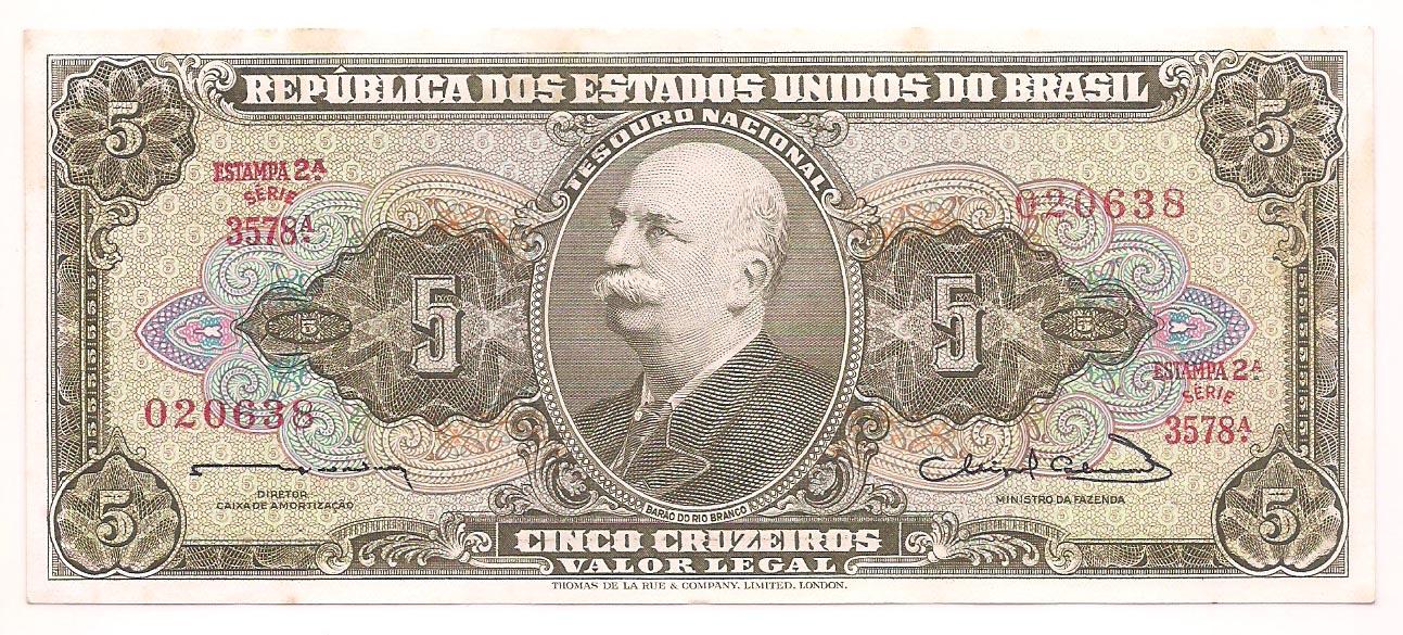 C-072 5 Cruzeiros 2° estampa - 1963 - FE