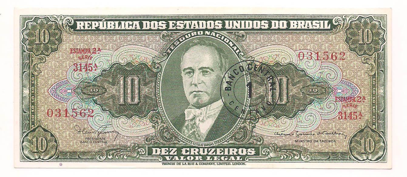 C-113 10 Cruzeiros com carimbo de 1 centavo  2° estampa 1966