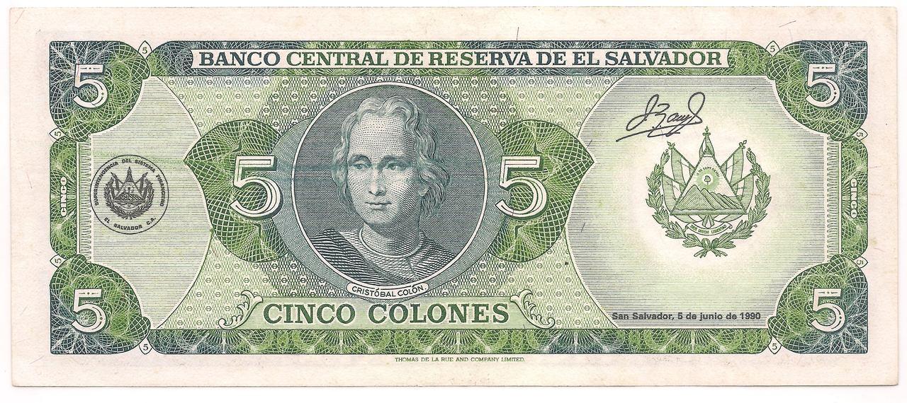 El Salvador - 5 Colones 1990
