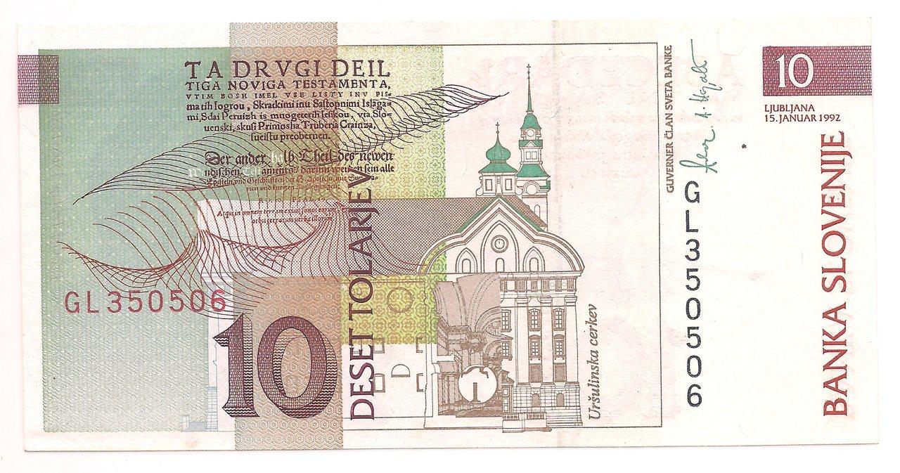 Eslovênia 10 Tolarjev 1992 - FE