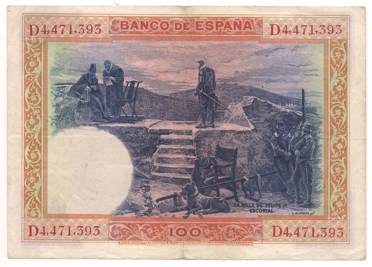 Espanha - 100 Pesetas (Felipe II) - 1925
