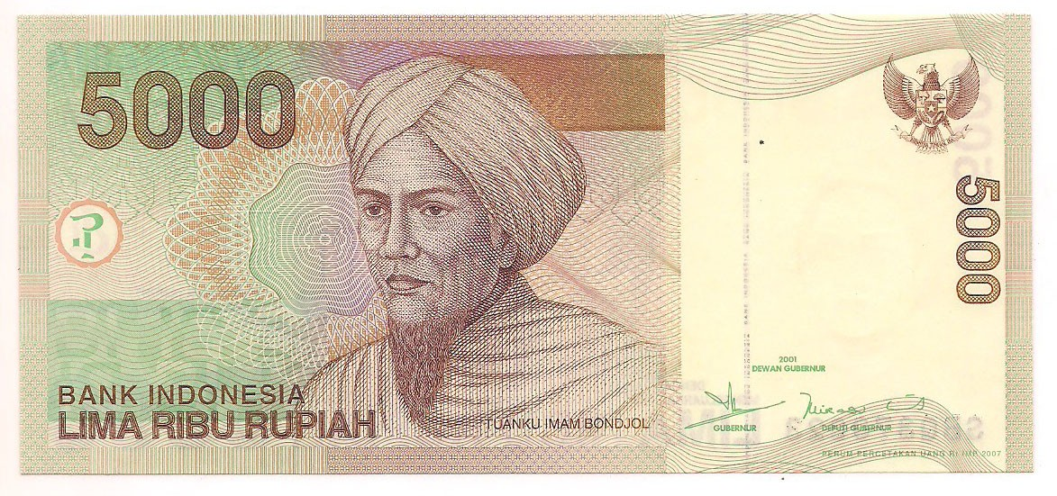 indonésia 5.000 rupiah 2001 FE