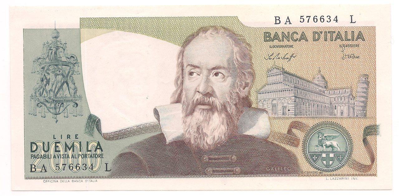 Itália - 2.000 Lire (Galileo) 1976 - FE