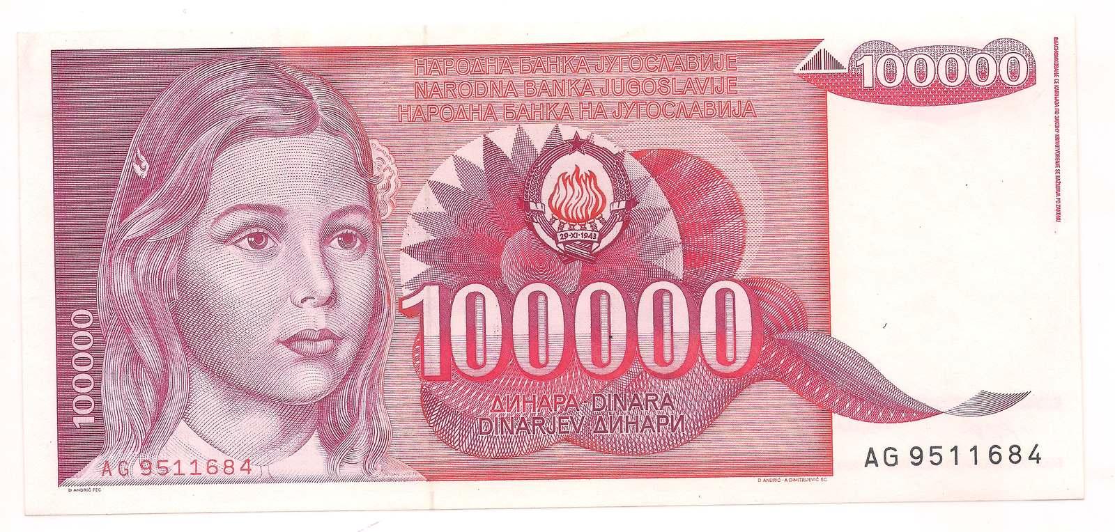 Iugoslávia - 1000 Dinara 1989 - SOB/FE