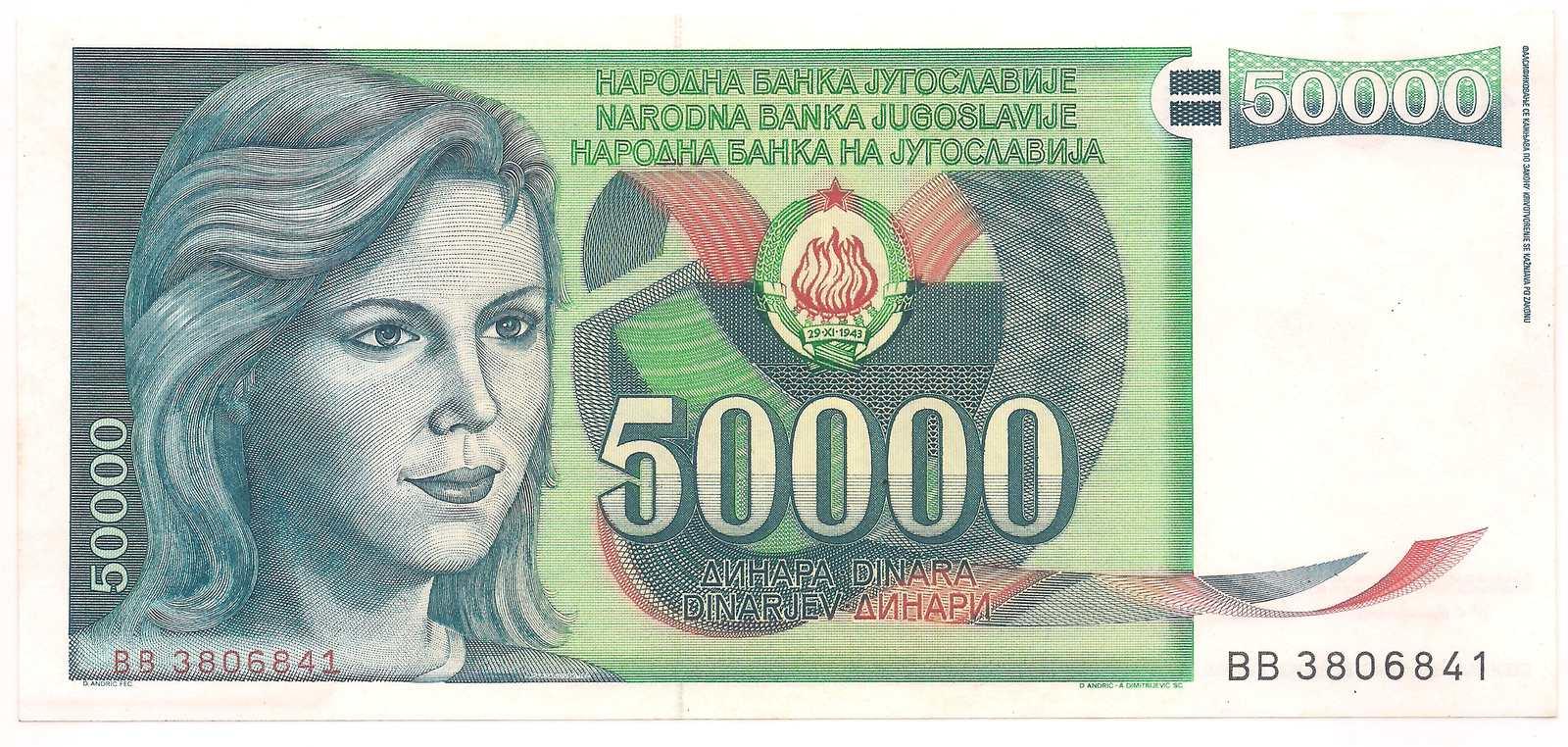 Iugoslávia - 50.000 Dinara 1988 - FE