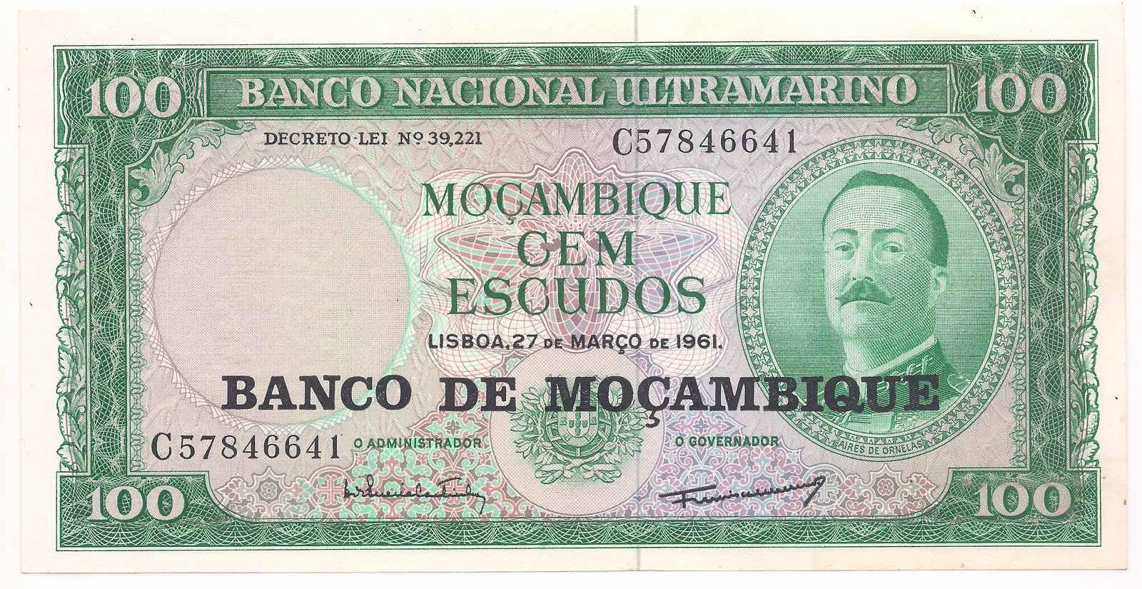 Moçambique - 100 escudos 1961 FE