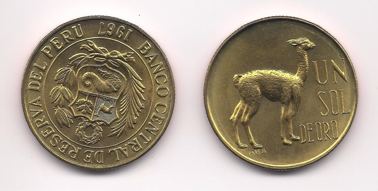 Moeda Banco Central de Reserva Del Peru 1967 UN SOL DE ORO.
