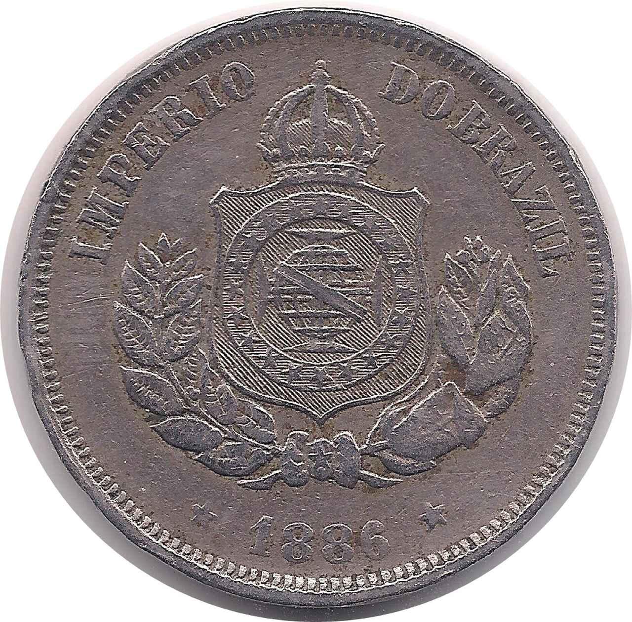 Moeda de 50 Réis ano de 1886, Império Brasil.