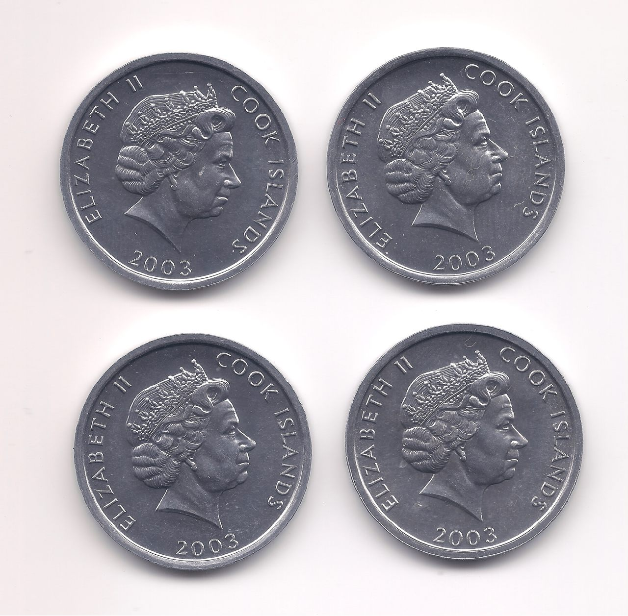 Série comemorativa 1 Cent  2003 - Ilhas Cook (4 pçs) SOB/FE