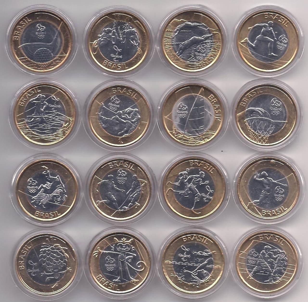 Série Moedas das Olimpíadas - 16 Moedas c/ Cápsulas