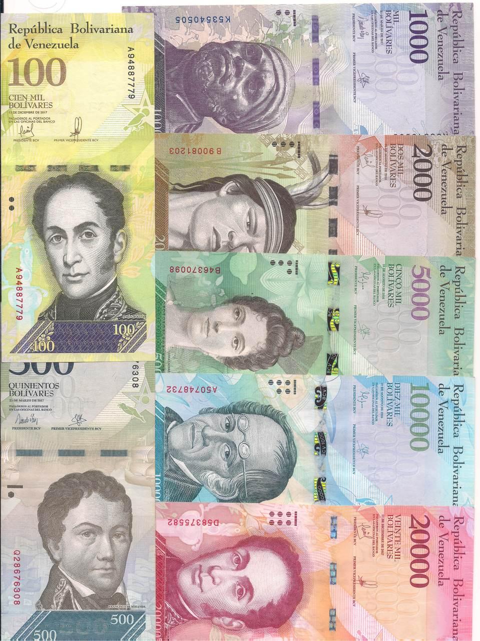 Venezuela - Série com 7 cédulas (100 a 20.000 Bolívares)