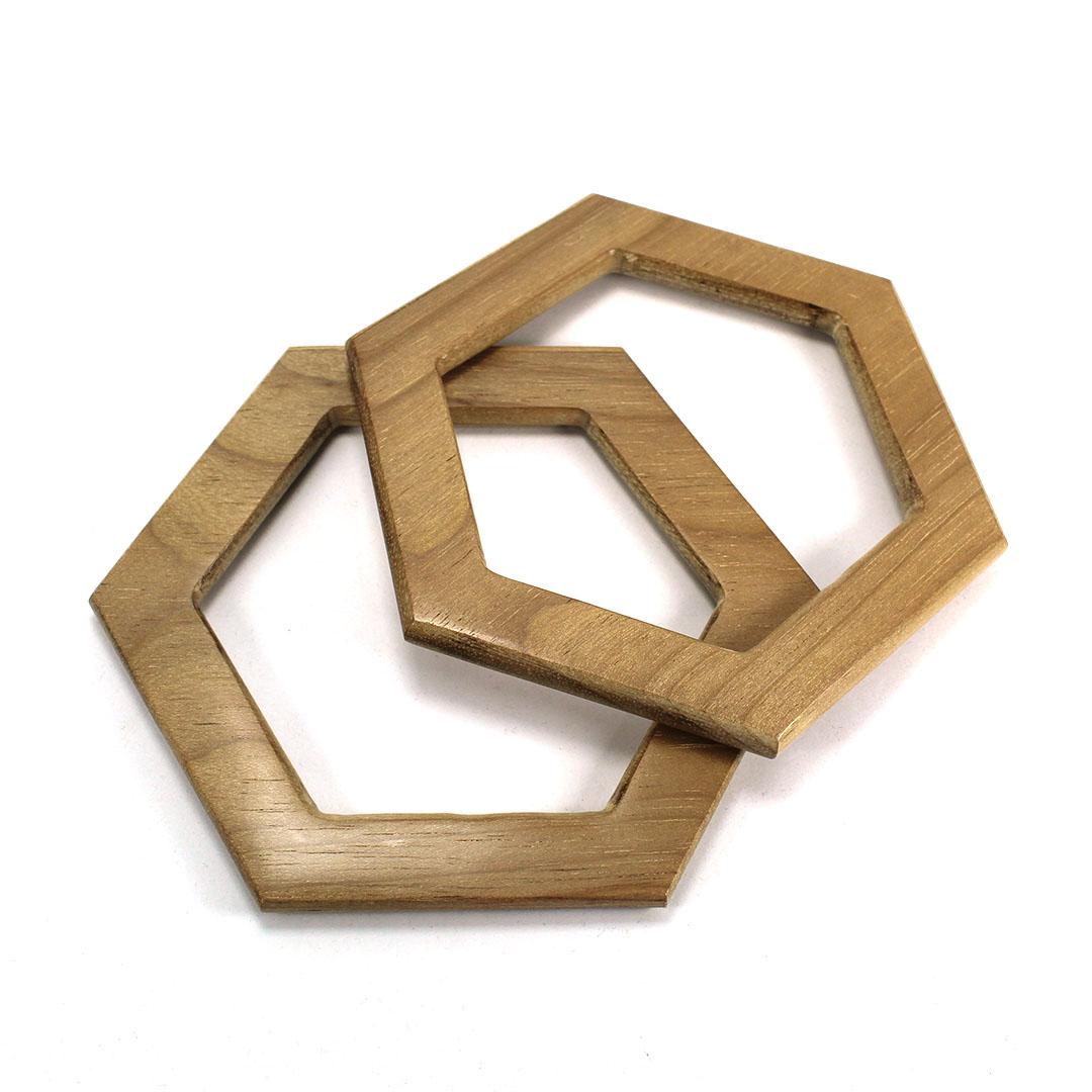 Alças de madeira Hexagonal COR 2 - PAR