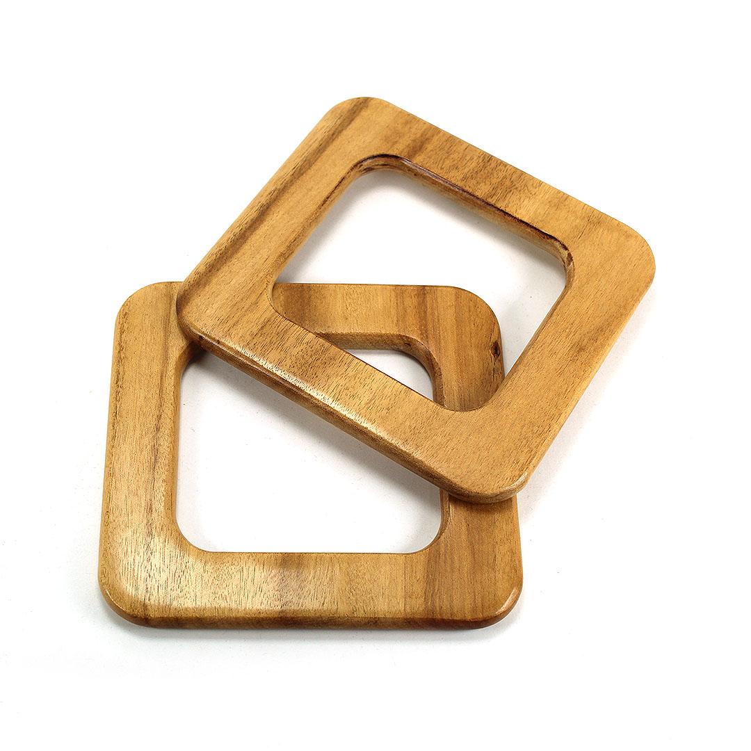 Alças de madeira Quadrada COR 1 -PAR