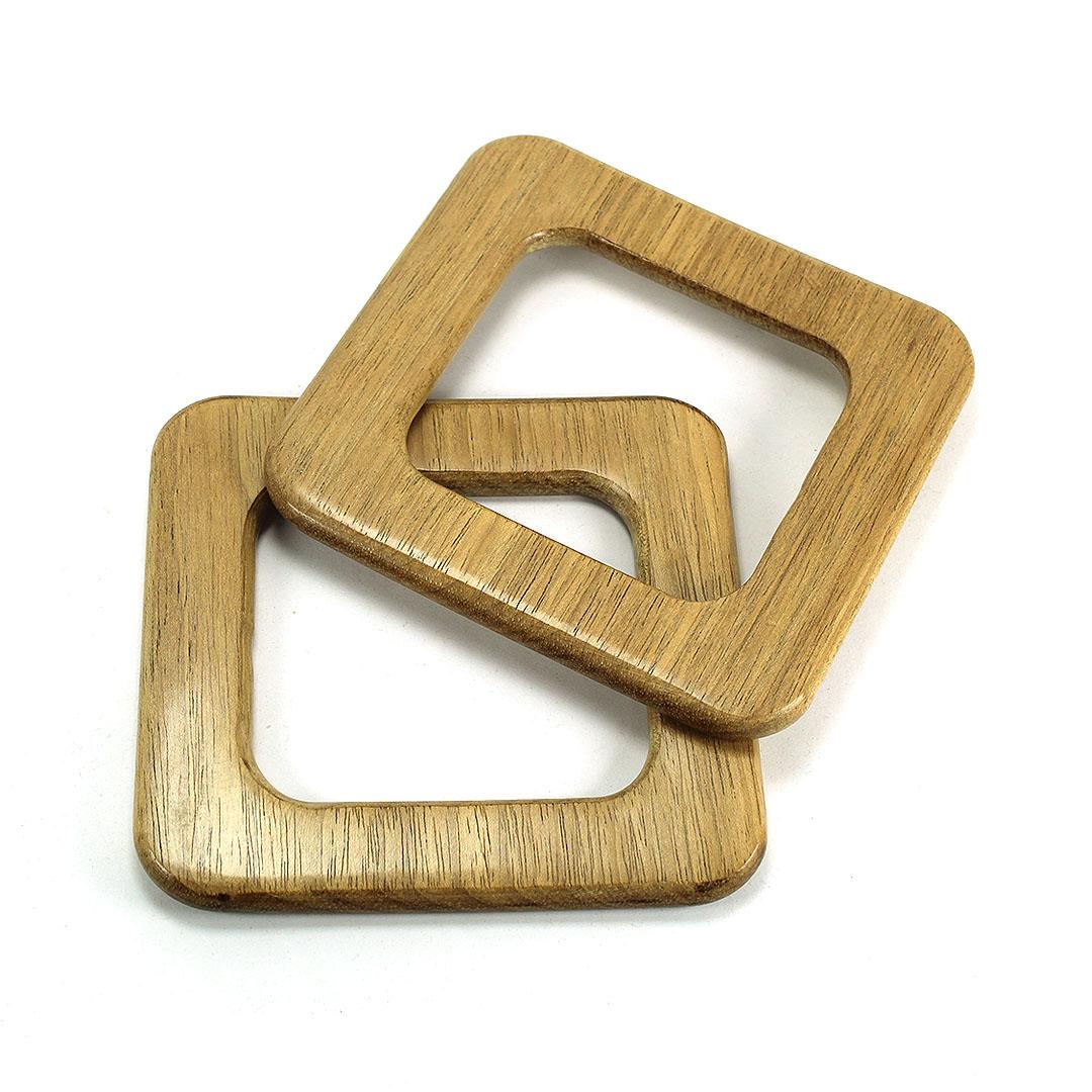 Alças de madeira Quadrada COR 2 - PAR