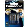 Pilha AAA Palito Alcalina Premium Panasonic - Cartela com 4 Unidades - LR03EGR/4B96