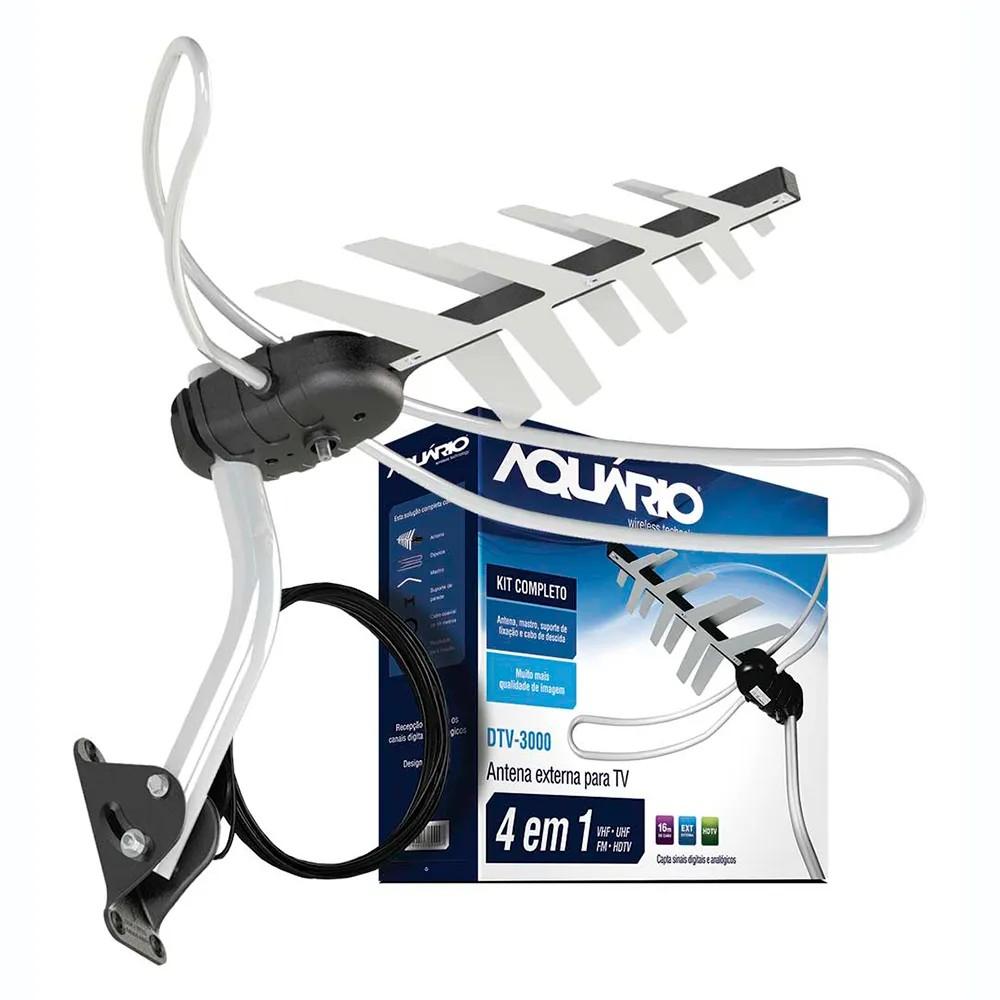 Antena Digital para TV - Externa - 4K/HDTV/UHF/VHF/FM - com Suporte e Cabo de 15 metros - Aquário DTV-3000